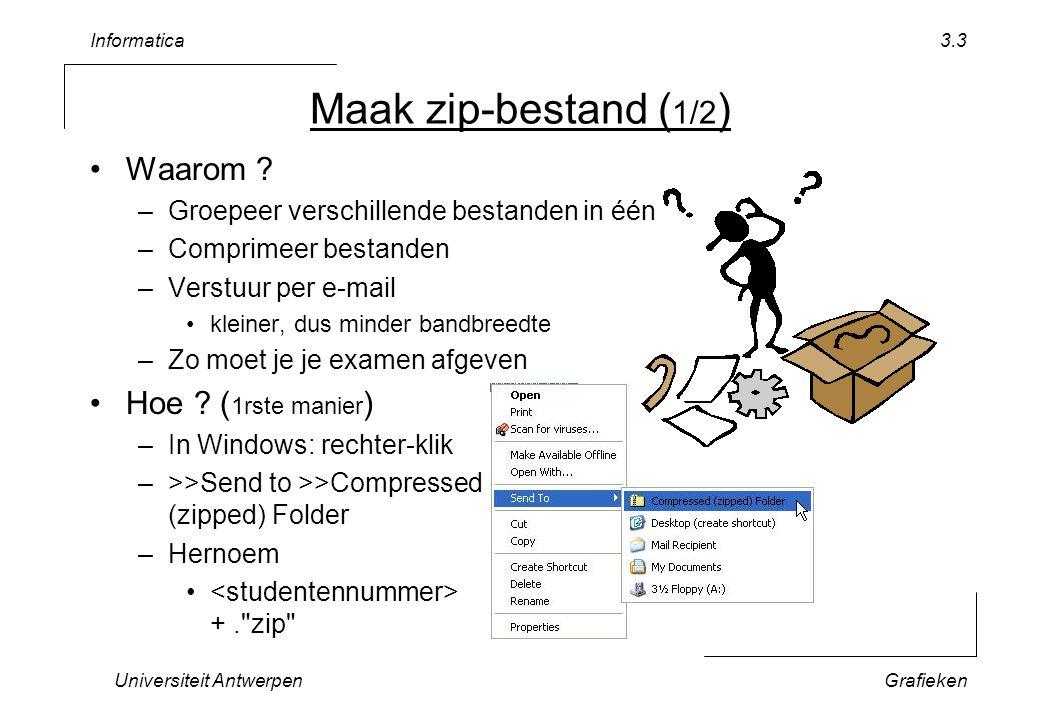 Informatica Universiteit AntwerpenGrafieken 3.3 Waarom ? –Groepeer verschillende bestanden in één –Comprimeer bestanden –Verstuur per e-mail kleiner,