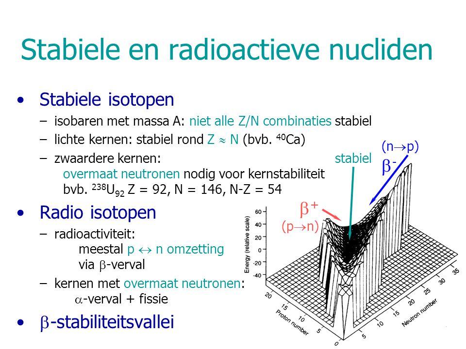 Stabiele en radioactieve nucliden Stabiele isotopen –isobaren met massa A: niet alle Z/N combinaties stabiel –lichte kernen: stabiel rond Z  N (bvb.