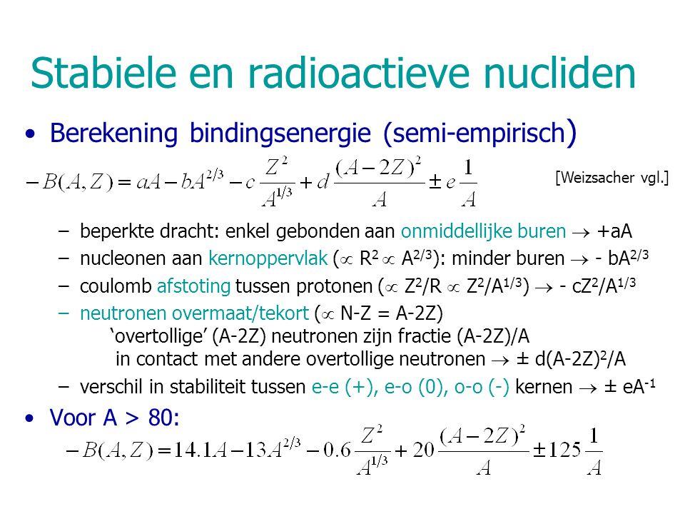 Stabiele en radioactieve nucliden Berekening bindingsenergie (semi-empirisch ) –beperkte dracht: enkel gebonden aan onmiddellijke buren  +aA –nucleonen aan kernoppervlak (  R 2  A 2/3 ): minder buren  - bA 2/3 –coulomb afstoting tussen protonen (  Z 2 /R  Z 2 /A 1/3 )  - cZ 2 /A 1/3 –neutronen overmaat/tekort (  N-Z = A-2Z) 'overtollige' (A-2Z) neutronen zijn fractie (A-2Z)/A in contact met andere overtollige neutronen  ± d(A-2Z) 2 /A –verschil in stabiliteit tussen e-e (+), e-o (0), o-o (-) kernen  ± eA -1 Voor A > 80: [Weizsacher vgl.]