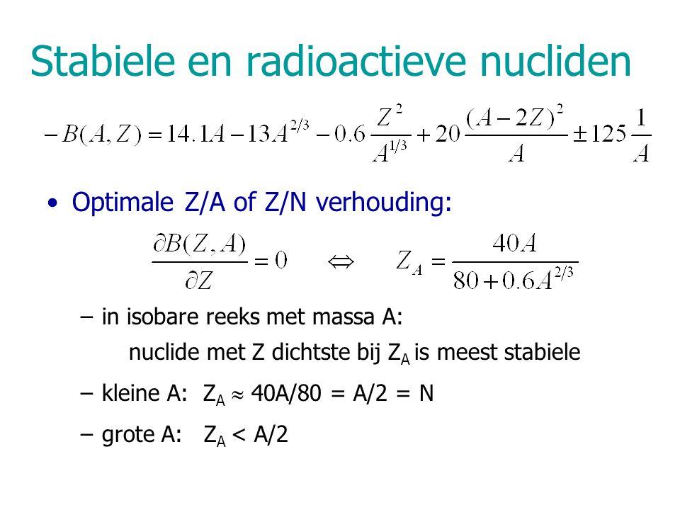 Stabiele en radioactieve nucliden Optimale Z/A of Z/N verhouding: –in isobare reeks met massa A: nuclide met Z dichtste bij Z A is meest stabiele –kleine A: Z A  40A/80 = A/2 = N –grote A: Z A < A/2
