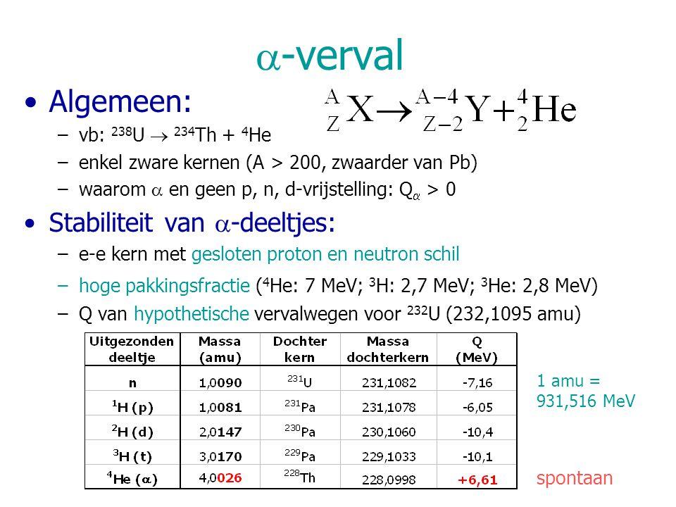  -verval Algemeen: –vb: 238 U  234 Th + 4 He –enkel zware kernen (A > 200, zwaarder van Pb) –waarom  en geen p, n, d-vrijstelling: Q  > 0 Stabiliteit van  -deeltjes: –e-e kern met gesloten proton en neutron schil –hoge pakkingsfractie ( 4 He: 7 MeV; 3 H: 2,7 MeV; 3 He: 2,8 MeV) –Q van hypothetische vervalwegen voor 232 U (232,1095 amu) spontaan 1 amu = 931,516 MeV