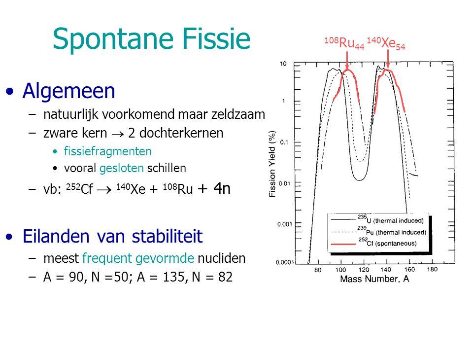 108 Ru 44 140 Xe 54 Spontane Fissie Algemeen –natuurlijk voorkomend maar zeldzaam –zware kern  2 dochterkernen fissiefragmenten vooral gesloten schillen –vb: 252 Cf  140 Xe + 108 Ru + 4n Eilanden van stabiliteit –meest frequent gevormde nucliden –A = 90, N =50; A = 135, N = 82