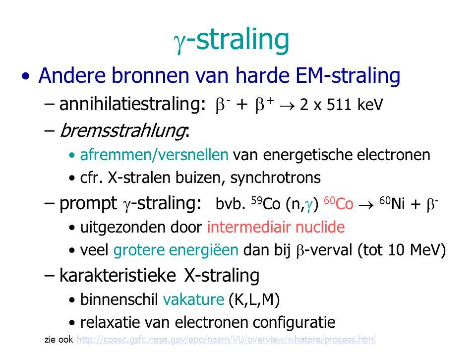  -straling Andere bronnen van harde EM-straling –annihilatiestraling:  - +  +  2 x 511 keV –bremsstrahlung: afremmen/versnellen van energetische electronen cfr.