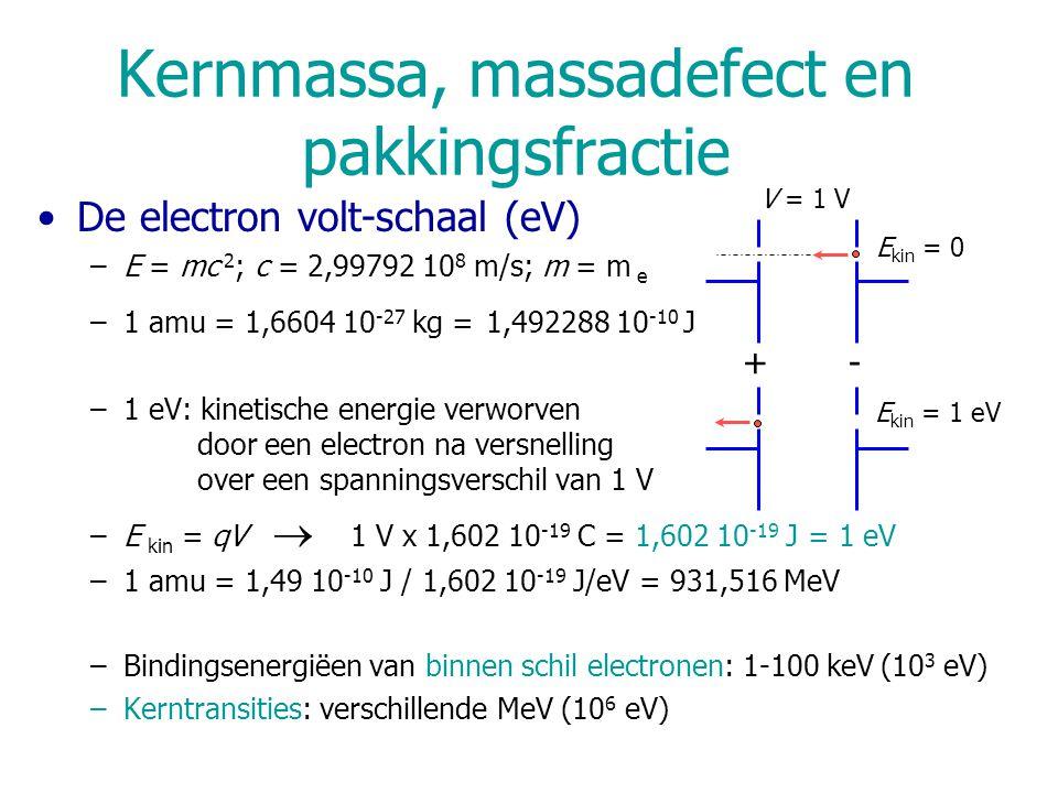 Kernmassa, massadefect en pakkingsfractie De electron volt-schaal (eV) –E = mc 2 ; c = 2,99792 10 8 m/s; m = m e –1 amu = 1,6604 10 -27 kg = 1,492288 10 -10 J –1 eV: kinetische energie verworven door een electron na versnelling over een spanningsverschil van 1 V –E kin = qV  1 V x 1,602 10 -19 C = 1,602 10 -19 J = 1 eV –1 amu = 1,49 10 -10 J / 1,602 10 -19 J/eV = 931,516 MeV –Bindingsenergiëen van binnen schil electronen: 1-100 keV (10 3 eV) –Kerntransities: verschillende MeV (10 6 eV) E kin = 1 eV -+ E kin = 0 V = 1 V
