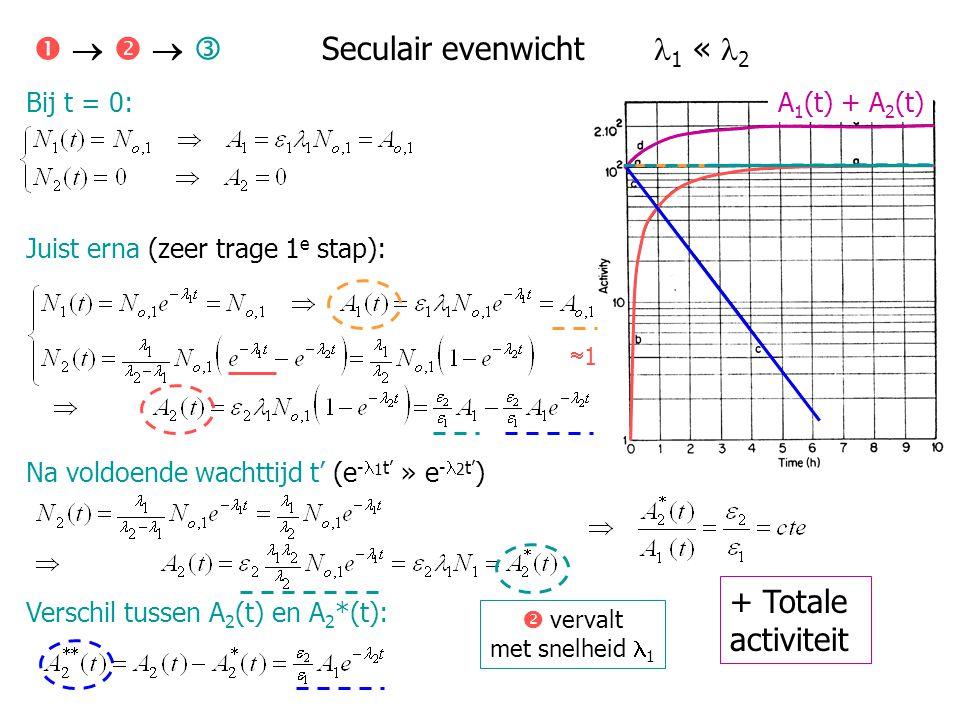 Bij t = 0: Juist erna (snelle 1 e stap): Na voldoende wachttijd t' (e - 1 t' « e - 2 t' ) Verschil tussen A 2 (t) en A 2 *(t):      Geen evenwicht 1 > 2 A 1 (t) + A 2 (t) + Totale activiteit  vervalt met snelheid 2