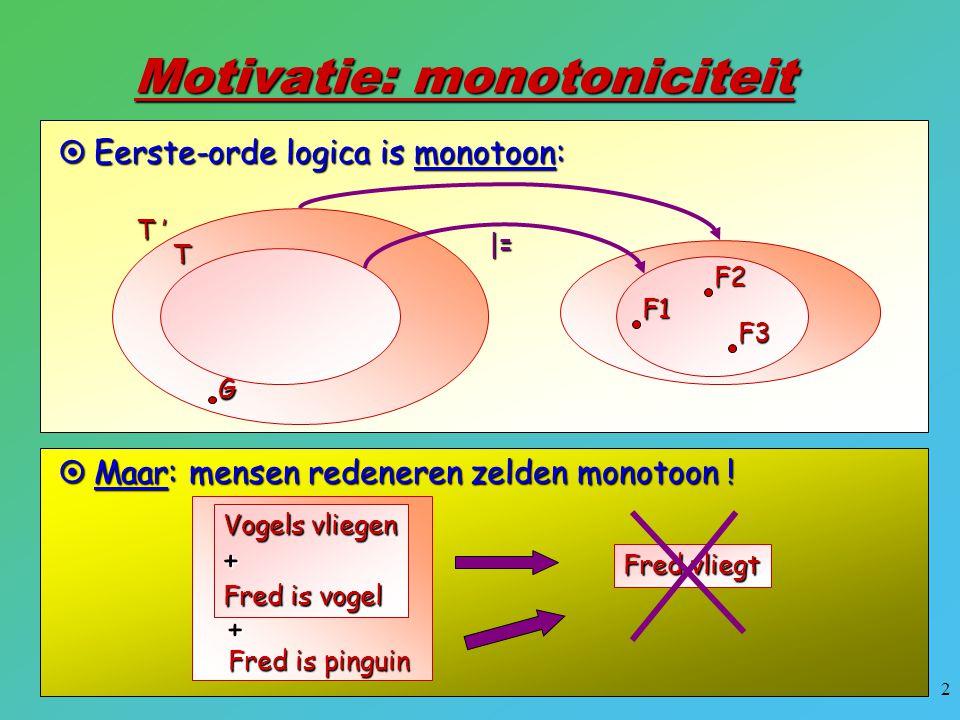 23 Default redeneren in LP (2): Ook gegeven: isa(Fred,Ostrich), Bewijs:  x locomotion(Fred,x) locomotion(x,Fly)  isa(x,Bird), not abnormal1(x) locomotion(x,Walk)  isa(x,Ostrich), not abnormal2(x) isa(x,Bird)  isa(x,Ostrich) abnormal1(x)  isa(x,Ostrich) isa(Fred,Bird) {x/Fly} false <- locomotion(Fred,x) false <- abnormal1(Fred) false <- isa(Fred,Bird), not abnormal1(Fred) false <- not abnormal1(Fred) false <- isa(Fred,Ostrich) false <- faalt (voor deze tak) backtracking: 2de tak