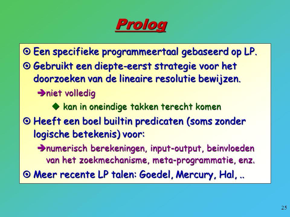 25  Een specifieke programmeertaal gebaseerd op LP. Prolog  Gebruikt een diepte-eerst strategie voor het doorzoeken van de lineaire resolutie bewijz
