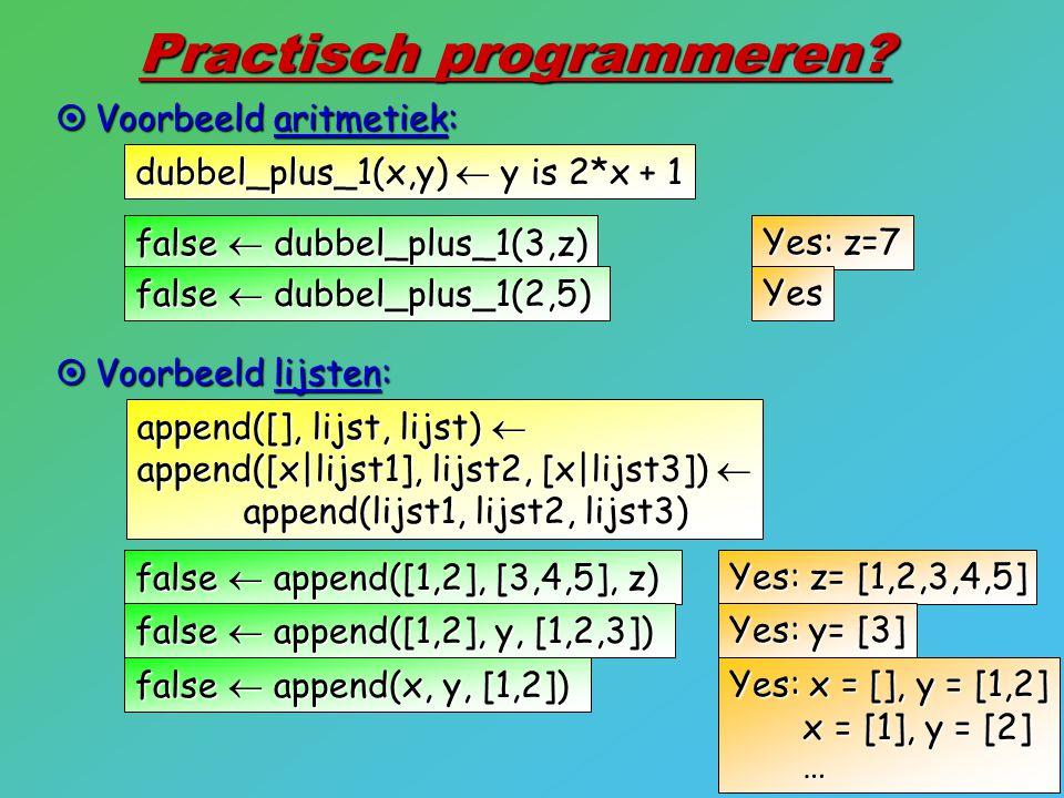 9 Practisch programmeren?  Voorbeeld aritmetiek: dubbel_plus_1(x,y)  y is 2*x + 1  Voorbeeld lijsten: append([], lijst, lijst)  append([x lijst1],
