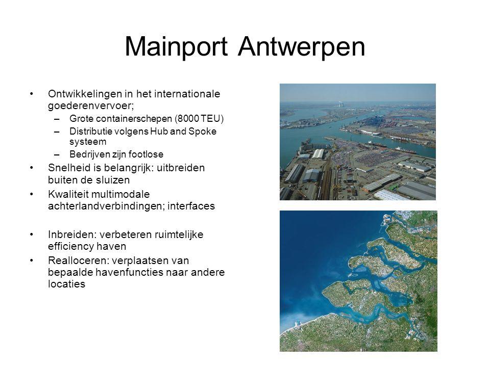 Mainport Antwerpen Ontwikkelingen in het internationale goederenvervoer; –Grote containerschepen (8000 TEU) –Distributie volgens Hub and Spoke systeem