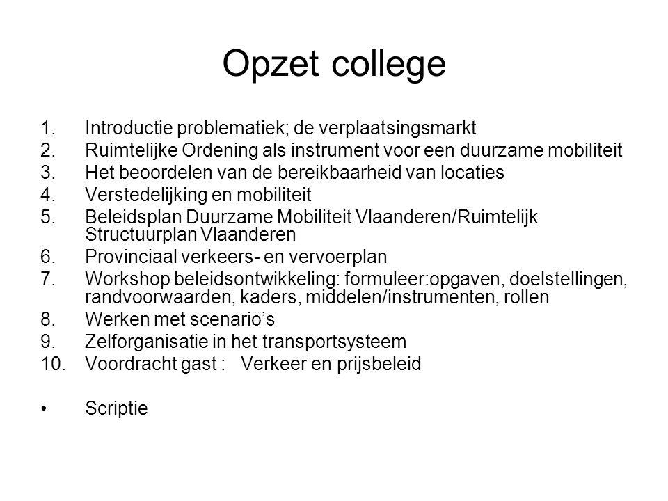 Opzet college 1.Introductie problematiek; de verplaatsingsmarkt 2.Ruimtelijke Ordening als instrument voor een duurzame mobiliteit 3.Het beoordelen va