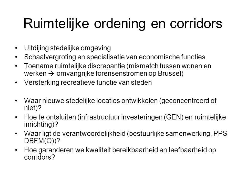 Ruimtelijke ordening en corridors Uitdijing stedelijke omgeving Schaalvergroting en specialisatie van economische functies Toename ruimtelijke discrep