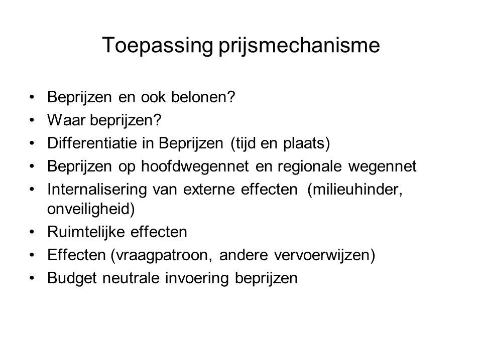 Toepassing prijsmechanisme Beprijzen en ook belonen? Waar beprijzen? Differentiatie in Beprijzen (tijd en plaats) Beprijzen op hoofdwegennet en region
