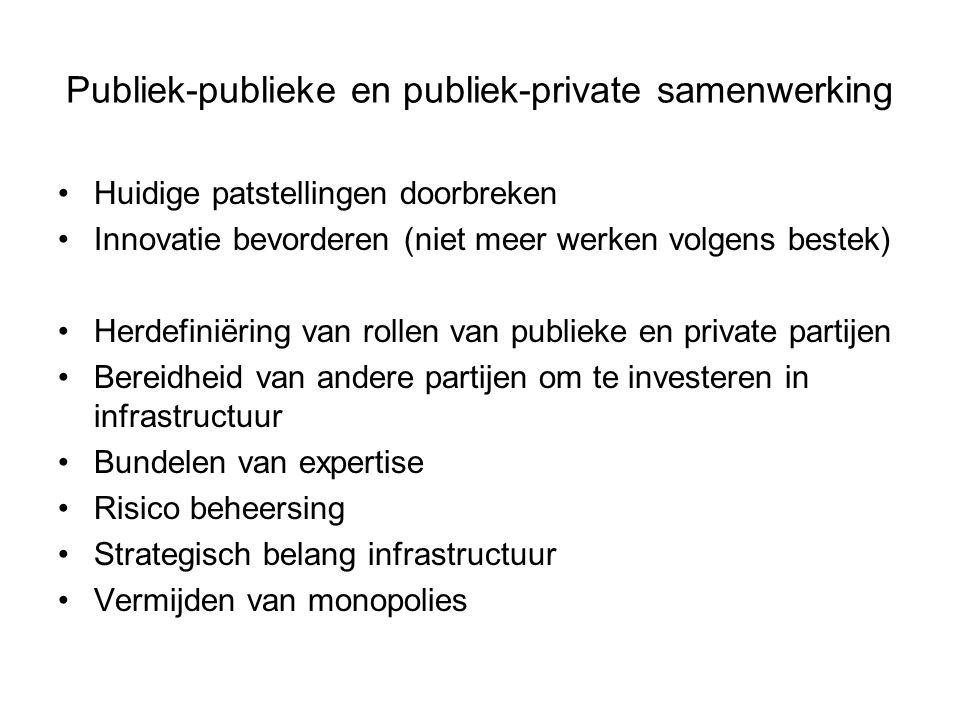 Publiek-publieke en publiek-private samenwerking Huidige patstellingen doorbreken Innovatie bevorderen (niet meer werken volgens bestek) Herdefiniërin