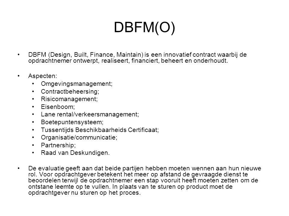 DBFM(O) DBFM (Design, Built, Finance, Maintain) is een innovatief contract waarbij de opdrachtnemer ontwerpt, realiseert, financiert, beheert en onder