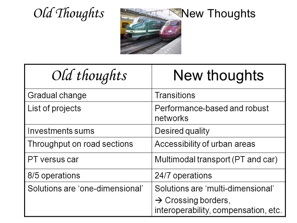 Old Thoughts New Thoughts Old thoughts New thoughts Gradual changeTransitions List of projectsPerformance-based and robust networks Investments sumsDesired quality Throughput on road sectionsAccessibility of urban areas PT versus carMultimodal transport (PT and car) 8/5 operations24/7 operations Solutions are 'one-dimensional'Solutions are 'multi-dimensional'  Crossing borders, interoperability, compensation, etc.