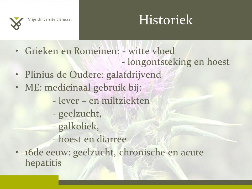 Historiek Grieken en Romeinen: - witte vloed - longontsteking en hoest Plinius de Oudere: galafdrijvend ME: medicinaal gebruik bij: - lever – en miltz