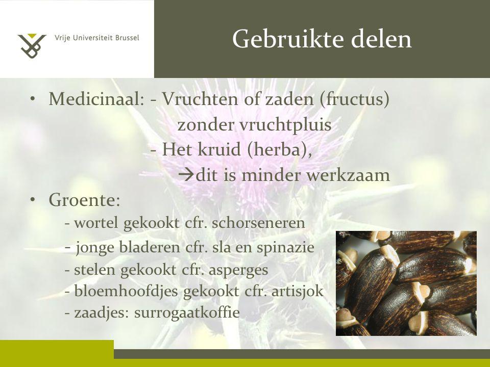 Gebruikte delen Medicinaal: - Vruchten of zaden (fructus) zonder vruchtpluis - Het kruid (herba),  dit is minder werkzaam Groente: - wortel gekookt cfr.
