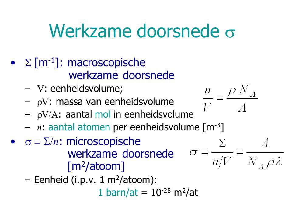 Werkzame doorsnede   [m -1 ]: macroscopische werkzame doorsnede – V : eenheidsvolume; –  V : massa van eenheidsvolume –  V/A : aantal mol in eenh
