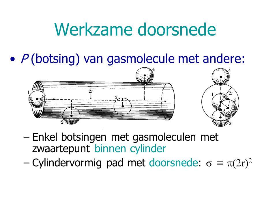 Werkzame doorsnede P (botsing) van gasmolecule met andere: –Enkel botsingen met gasmoleculen met zwaartepunt binnen cylinder –Cylindervormig pad met d