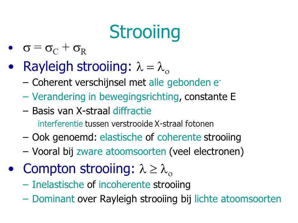 Strooiing  =  C +  R Rayleigh strooiing:   –Coherent verschijnsel met alle gebonden e - –Verandering in bewegingsrichting, constante E –Basis v