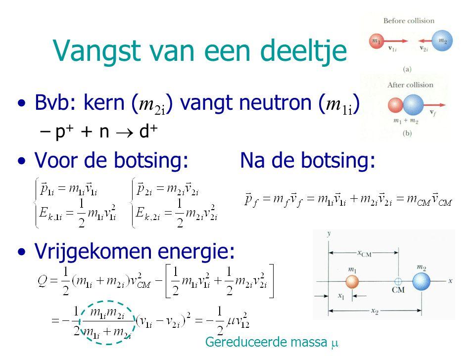 Vangst van een deeltje Bvb: kern ( m 2i ) vangt neutron ( m 1i ) –p + + n  d + Voor de botsing: Na de botsing: Vrijgekomen energie: Gereduceerde mass
