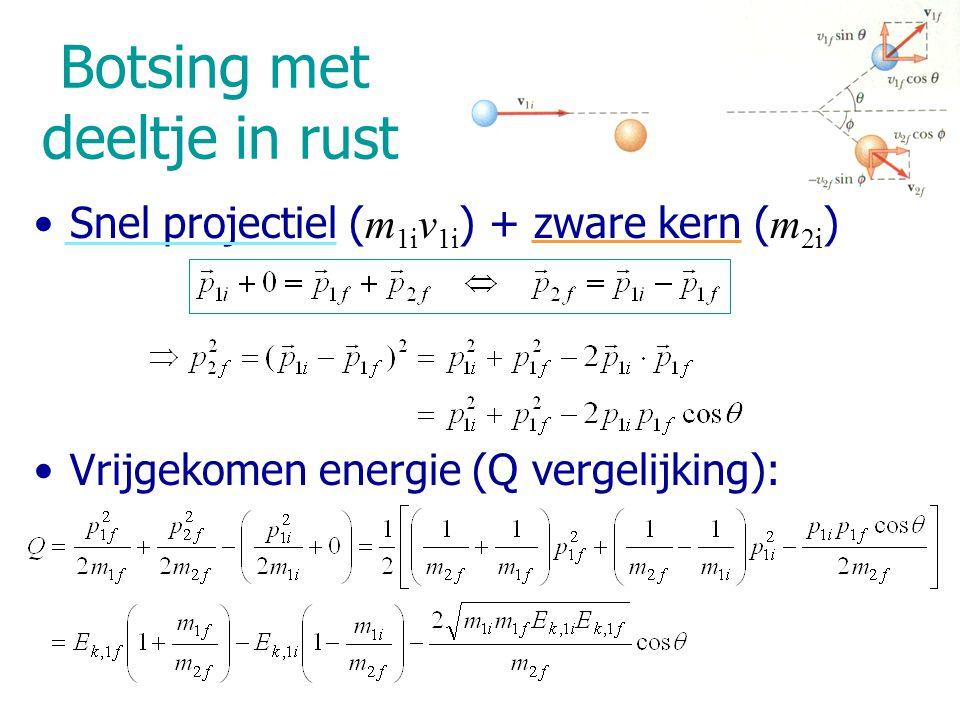 Elastische botsing van 2  -deeltjes Elastische botsing van 2 biljartballen Elastische botsing van twee identieke deeltjes Q = 0 ; m 1i = m 1f (proj.) ; m 2i = m 2f (in rust) Behoud van E Behoud van p Na botsing: deeltjes bewegen loodrecht t.o.v.