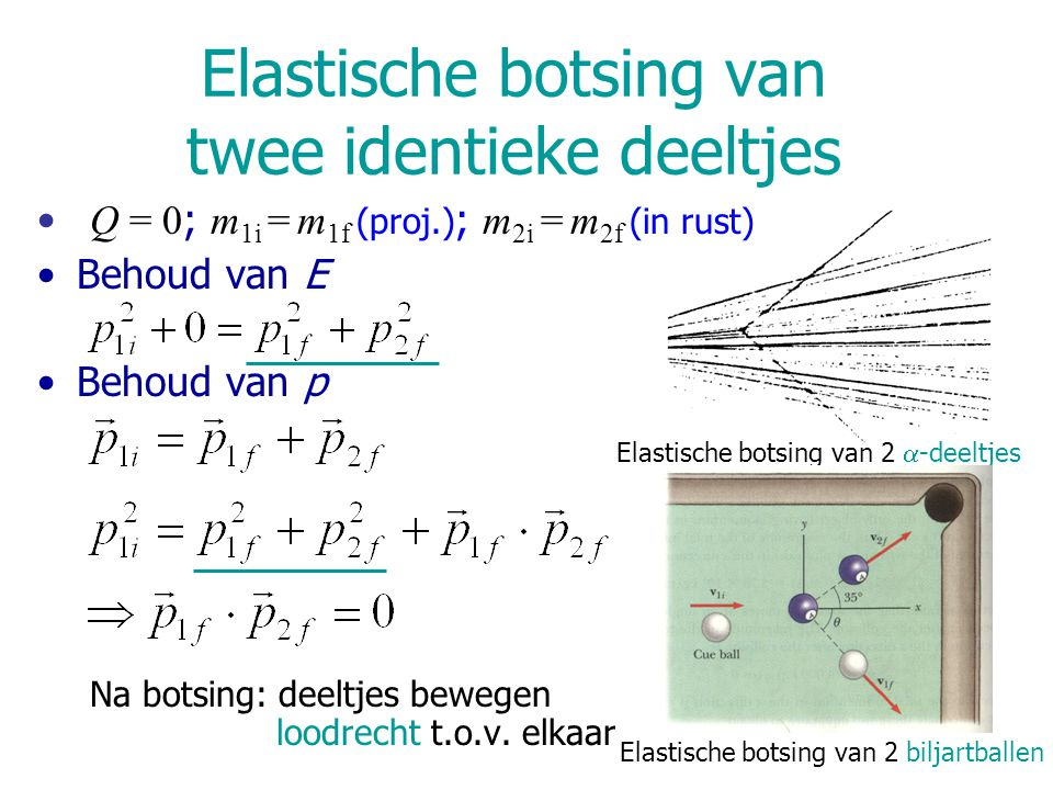 Elastische botsing van 2  -deeltjes Elastische botsing van 2 biljartballen Elastische botsing van twee identieke deeltjes Q = 0 ; m 1i = m 1f (proj.)