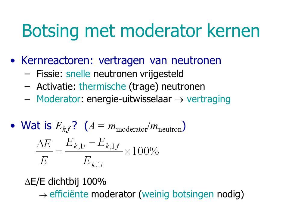 Neutronen Geen lading, geen e - interactie, weinig ionisatie Buiten de kern: instabiel n  p + e - Elastische botsingen –Moderatie: snelle  epithermische  thermische neutronen –Maximale relatieve energie-overdracht/botsing: 1-  –Gemiddeld aantal botsingen ñ nodig om een 2 MeV neutron te thermaliseren