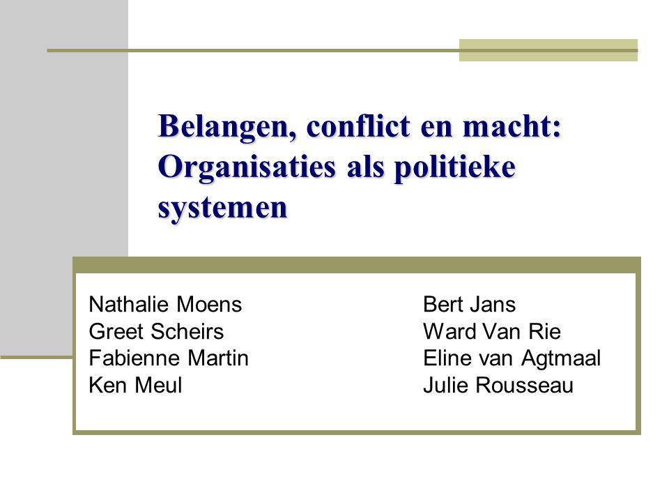 Belangen, conflict en macht: Organisaties als politieke systemen Nathalie MoensBert Jans Greet ScheirsWard Van Rie Fabienne MartinEline van Agtmaal Ken MeulJulie Rousseau