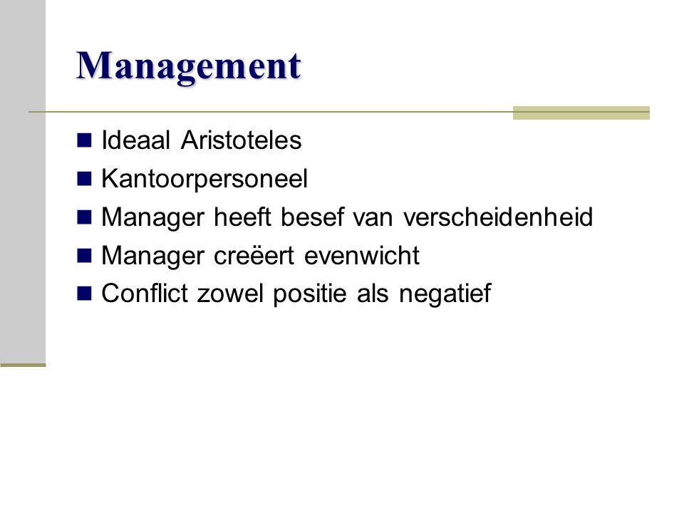 Management Ideaal Aristoteles Kantoorpersoneel Manager heeft besef van verscheidenheid Manager creëert evenwicht Conflict zowel positie als negatief