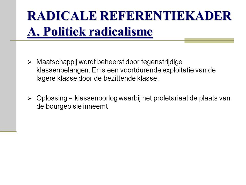 RADICALE REFERENTIEKADER A.