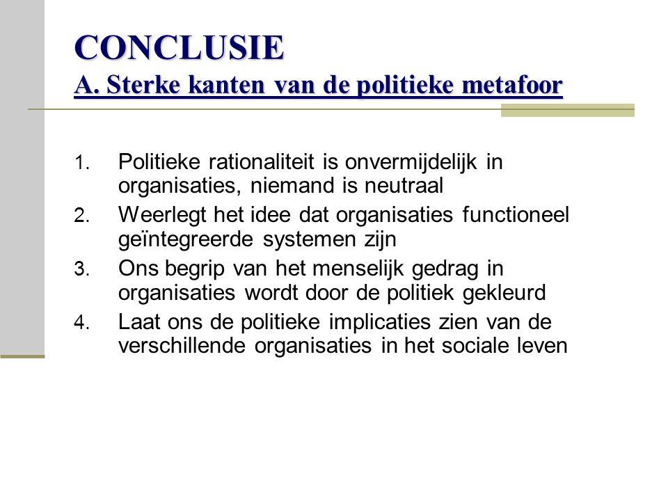 CONCLUSIE A.Sterke kanten van de politieke metafoor 1.