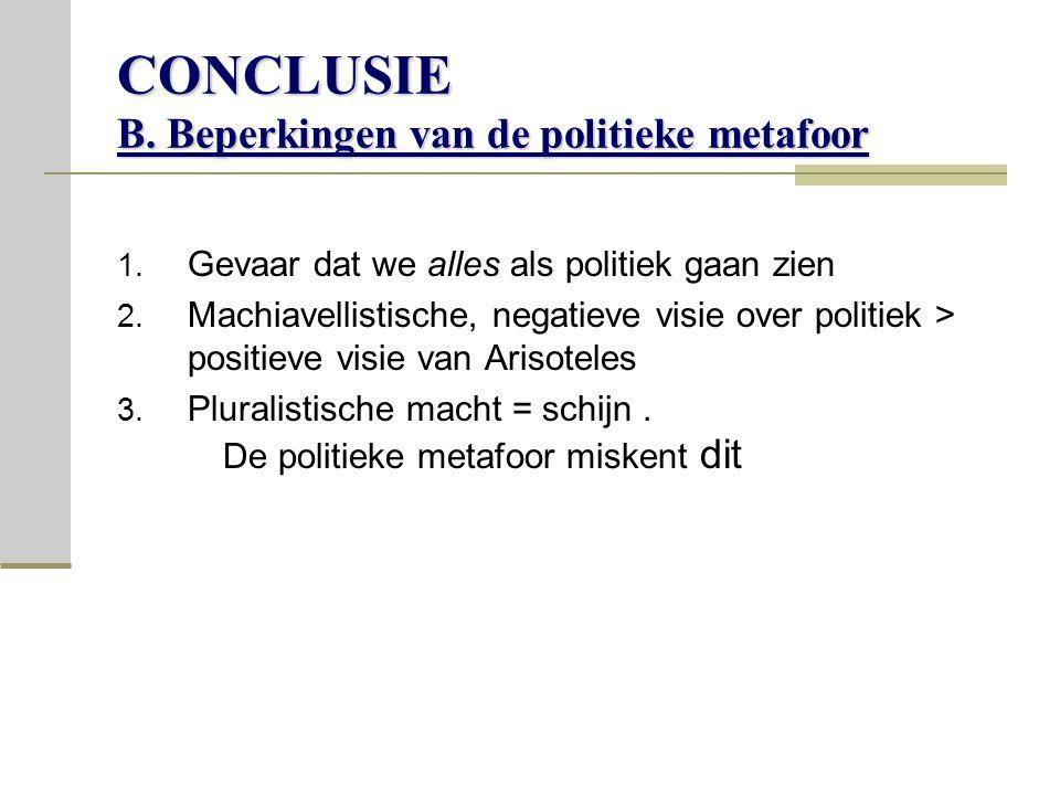 CONCLUSIE B.Beperkingen van de politieke metafoor 1.