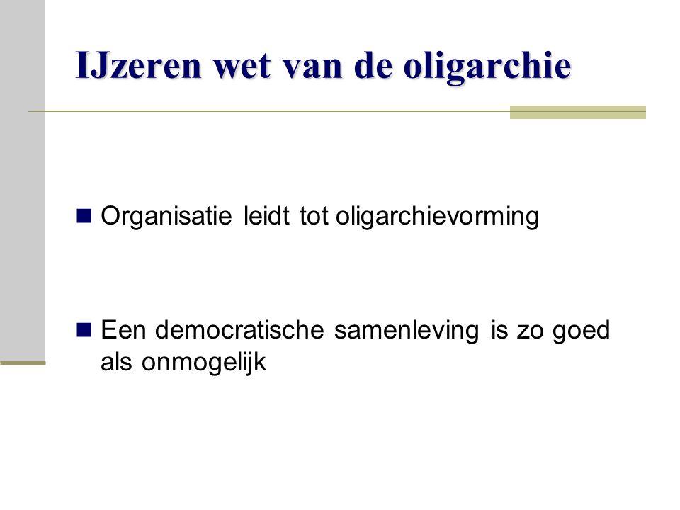 IJzeren wet van de oligarchie Organisatie leidt tot oligarchievorming Een democratische samenleving is zo goed als onmogelijk