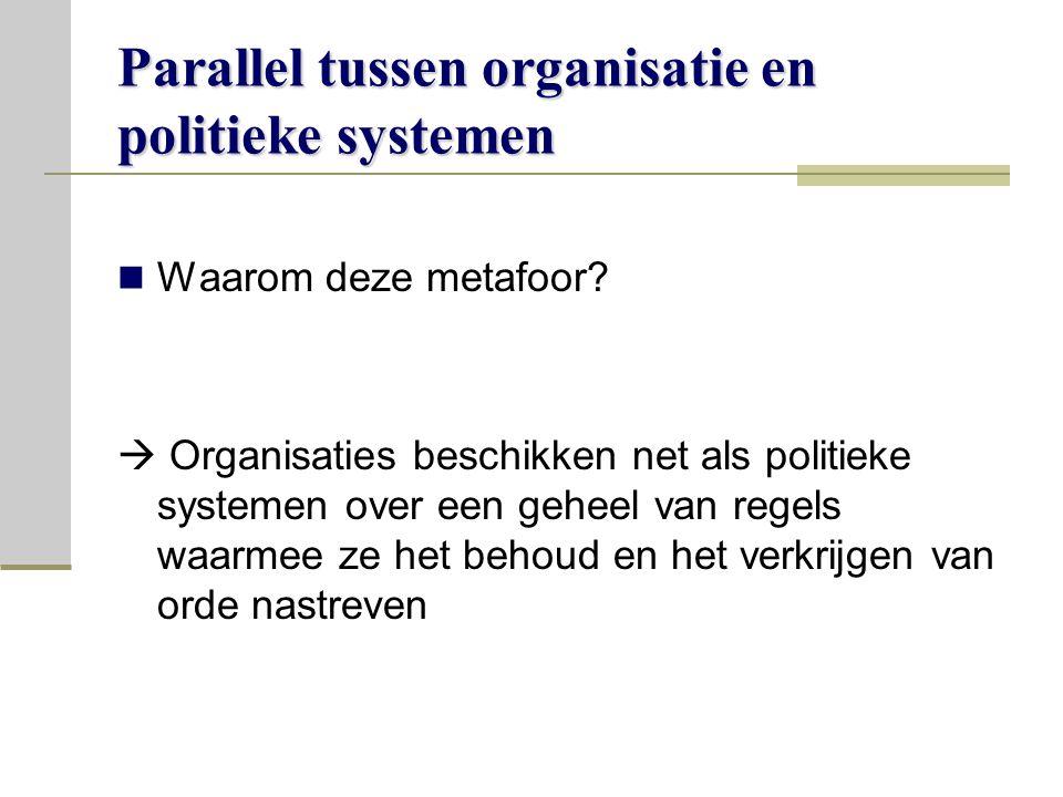 Parallel tussen organisatie en politieke systemen Waarom deze metafoor.