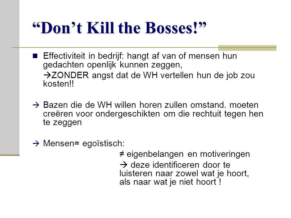 Don't Kill the Bosses! Effectiviteit in bedrijf: hangt af van of mensen hun gedachten openlijk kunnen zeggen,  ZONDER angst dat de WH vertellen hun de job zou kosten!.