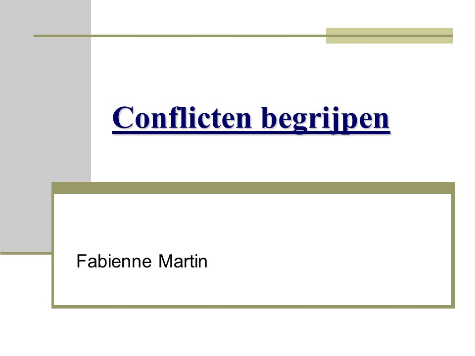 Conflicten begrijpen Fabienne Martin