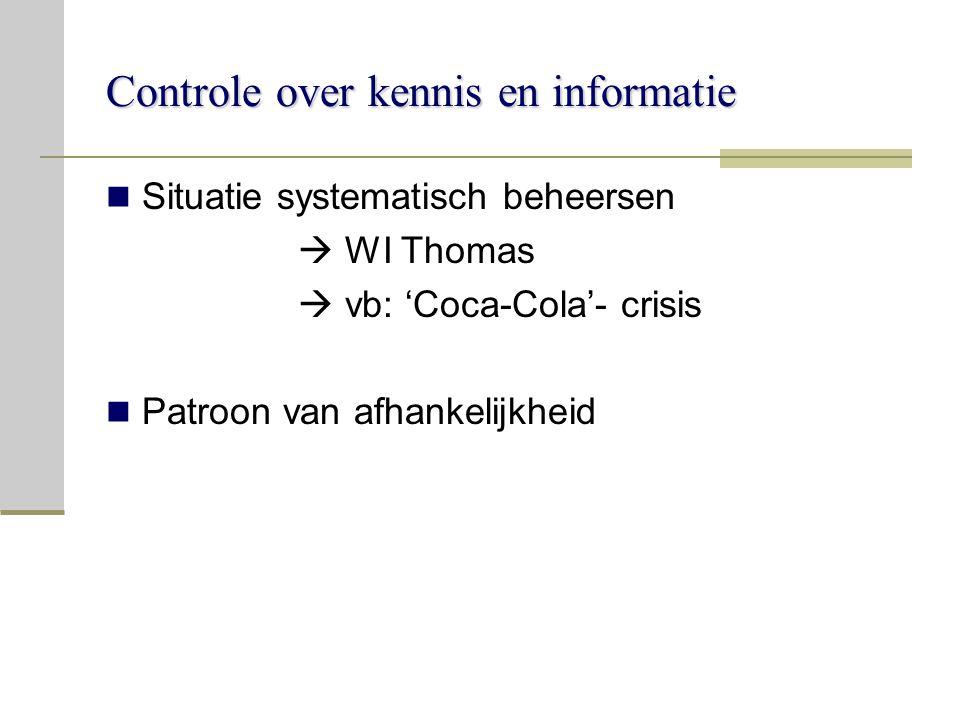 Controle over kennis en informatie Situatie systematisch beheersen  WI Thomas  vb: 'Coca-Cola'- crisis Patroon van afhankelijkheid