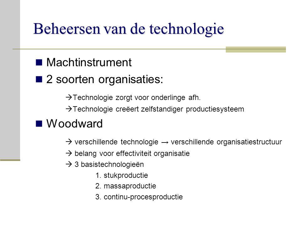 Beheersen van de technologie Machtinstrument 2 soorten organisaties:  Technologie zorgt voor onderlinge afh.