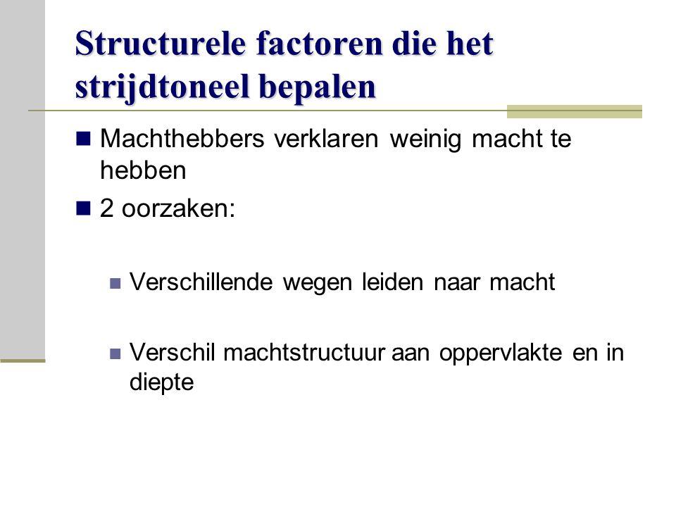 Structurele factoren die het strijdtoneel bepalen Machthebbers verklaren weinig macht te hebben 2 oorzaken: Verschillende wegen leiden naar macht Verschil machtstructuur aan oppervlakte en in diepte