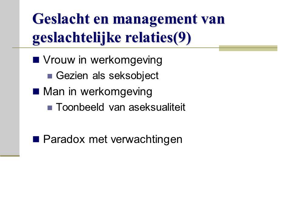 Geslacht en management van geslachtelijke relaties(9) Vrouw in werkomgeving Gezien als seksobject Man in werkomgeving Toonbeeld van aseksualiteit Paradox met verwachtingen