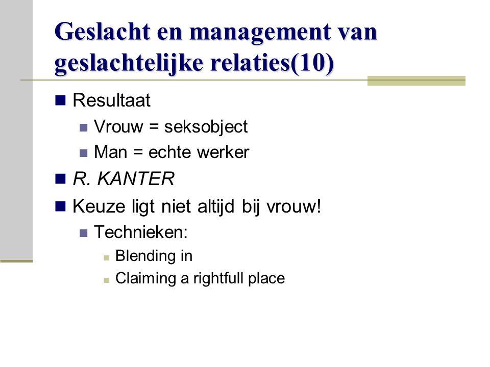 Geslacht en management van geslachtelijke relaties(10) Resultaat Vrouw = seksobject Man = echte werker R.