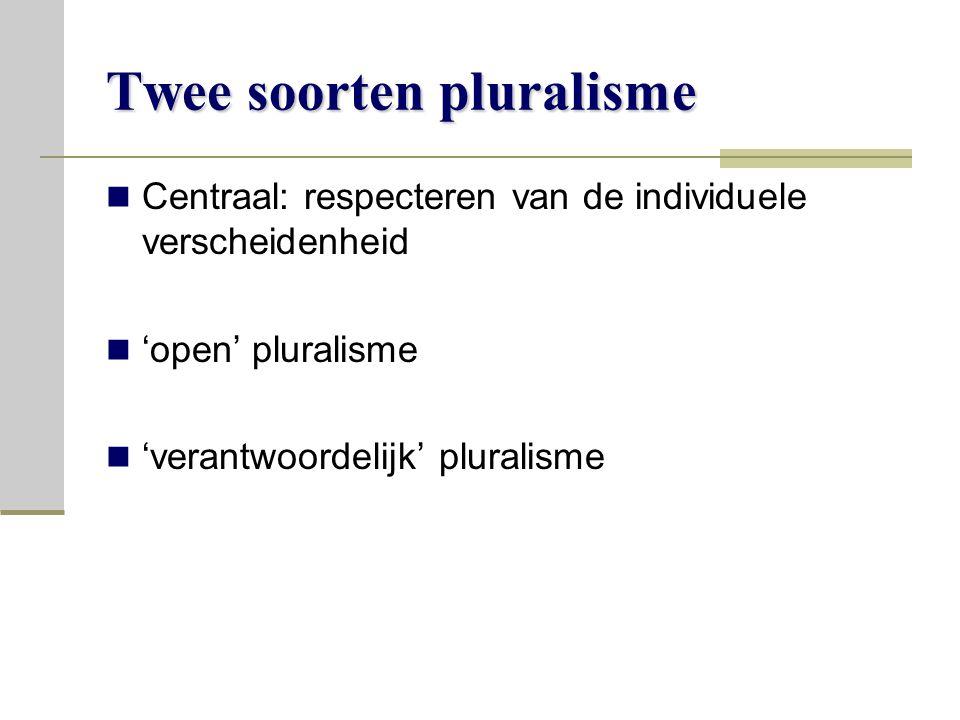 Twee soorten pluralisme Centraal: respecteren van de individuele verscheidenheid 'open' pluralisme 'verantwoordelijk' pluralisme