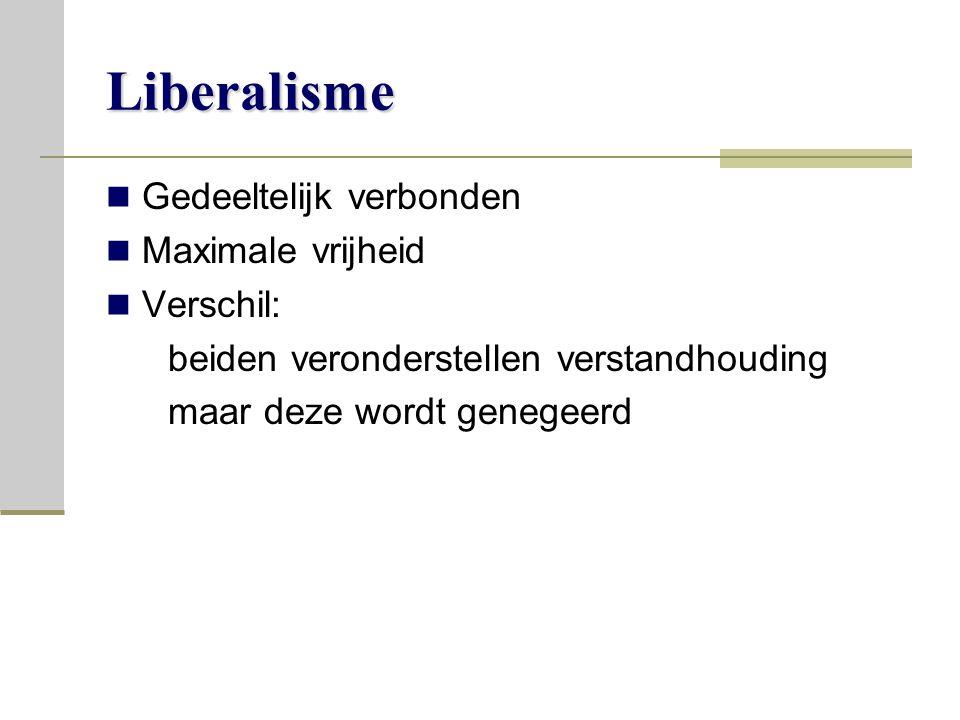 Liberalisme Gedeeltelijk verbonden Maximale vrijheid Verschil: beiden veronderstellen verstandhouding maar deze wordt genegeerd