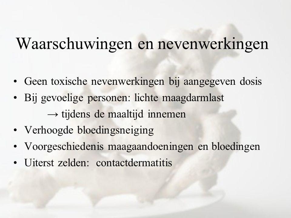 Waarschuwingen en nevenwerkingen Geen toxische nevenwerkingen bij aangegeven dosis Bij gevoelige personen: lichte maagdarmlast → tijdens de maaltijd i