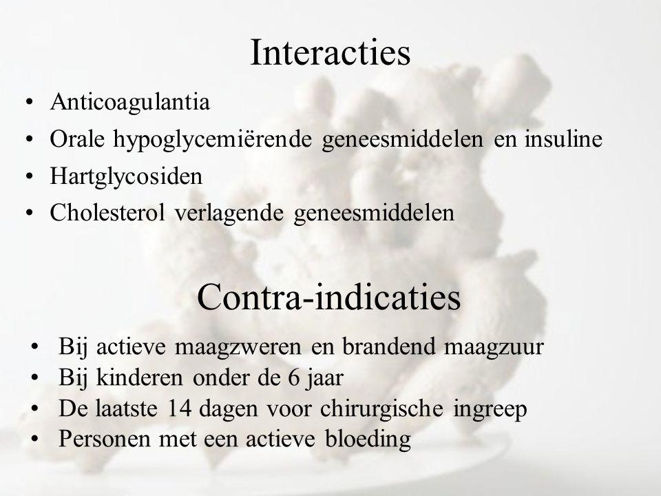 Interacties Anticoagulantia Orale hypoglycemiërende geneesmiddelen en insuline Hartglycosiden Cholesterol verlagende geneesmiddelen Contra-indicaties