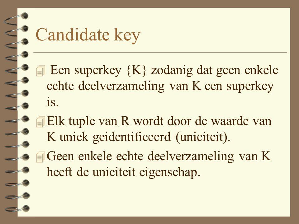Candidate key 4 Een superkey {K} zodanig dat geen enkele echte deelverzameling van K een superkey is.
