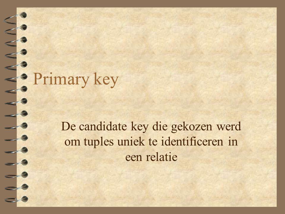 Primary key De candidate key die gekozen werd om tuples uniek te identificeren in een relatie