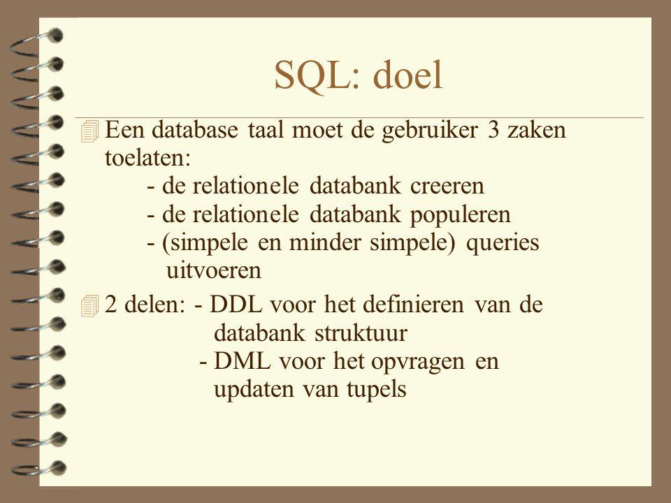 SQL: doel 4 Een database taal moet de gebruiker 3 zaken toelaten: - de relationele databank creeren - de relationele databank populeren - (simpele en minder simpele) queries uitvoeren 4 2 delen: - DDL voor het definieren van de databank struktuur - DML voor het opvragen en updaten van tupels