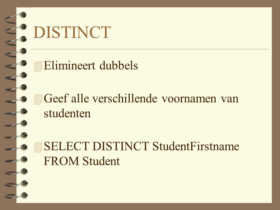 DISTINCT 4 Elimineert dubbels 4 Geef alle verschillende voornamen van studenten 4 SELECT DISTINCT StudentFirstname FROM Student